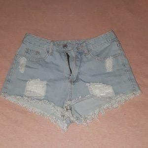 Raw Hem Distressed Light Blue Jean Shorts